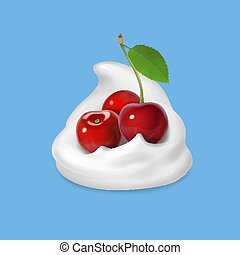 Whipped cream with cherry vector icon illustration.