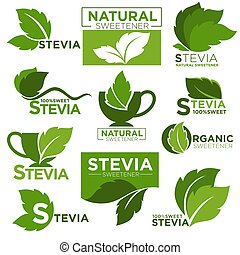 Stevia sweetener sugar substitute vector healthy product...