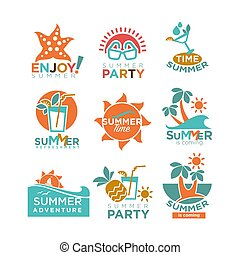Summer holidays or party and travel adventure vector icons set