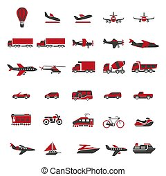 Transport and vehicles vector flat isolated icons set