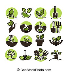 Tree planting and green gardening horticulture vector icons...