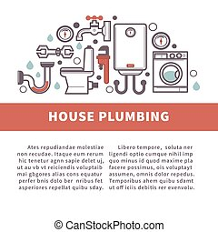 House bathroom and kitchen plumbing vector poster - House...
