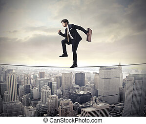 Man on tightrope - Businessman on tightrope