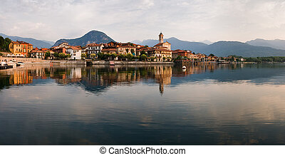 Maggiore Lake - Maggiore lake in the morning, Italy, summer