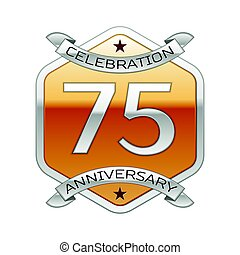 Seventy five years anniversary celebration silver logo with...