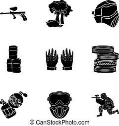 A collection of pictures about the game in paintball. The...