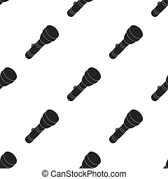 Flashlight icon in black style isolated on white background. Light source pattern stock vector illustration