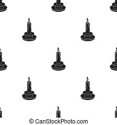 Candle icon in black style isolated on white background. Light source pattern stock vector illustration