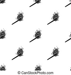Match icon in black style isolated on white background. Light source pattern stock vector illustration