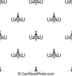 Chandelier icon in black style isolated on white background. Light source pattern stock vector illustration