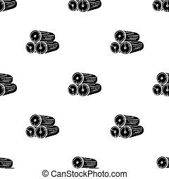 Stack of logs icon in black style isolated on white...