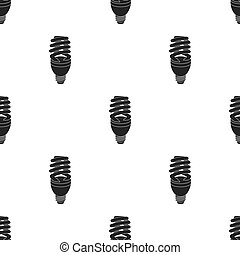 Fluorescent lightbulb icon in black style isolated on white background. Light source pattern stock vector illustration