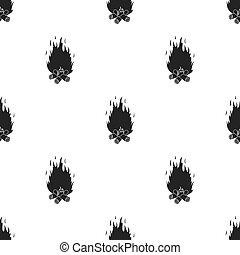 Campfire icon in black style isolated on white background. Light source pattern stock vector illustration