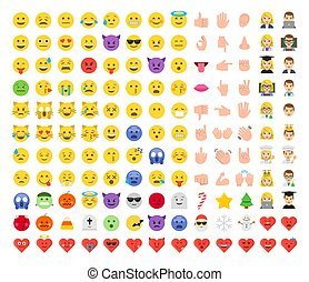 Abstract funny flat style emoticon set.