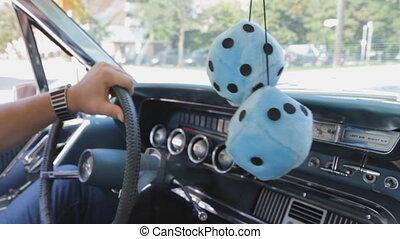 Classic car cruising. - Driving in a classic 1965...
