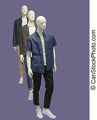 Full-length three man mannequins