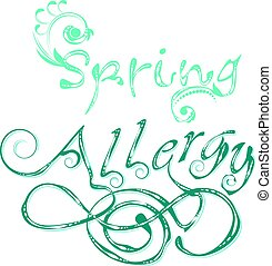 Decorative Word Allergy - Ornamental letters in vintage...