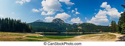 Black lake in Durmitor national park in Montenegro, Europe....