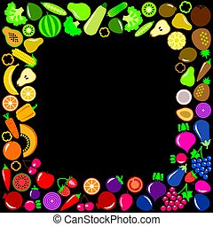 Vegetables and fruits icons square frame