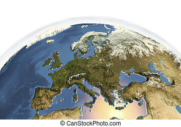 Planet Earth from space showing Western Europe in winter...
