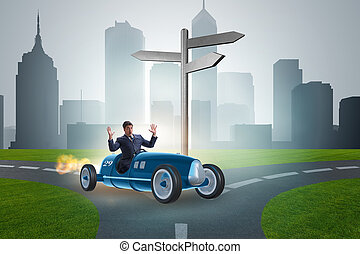 Confused businessman driving car im uncertainty