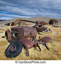 Old cars in Bodie, California