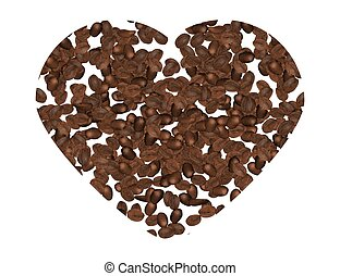 Coffee Beans Hart Shape Isolated on White Background. Vector...
