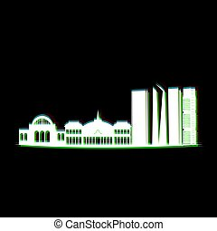 Isolated Madrid cityscape - Isolated white cityscape of...