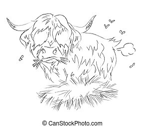 Cartoon image of hairy cow farting. An artistic freehand...