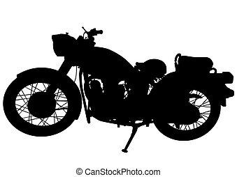 Old motor bike one - Old big bike on white background