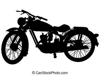 Old motor bike three - Old big bike on white background