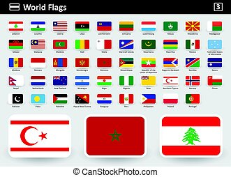 Flag icons of the world with names in alphabetical order