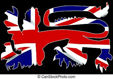 British Lion Silhouette On Union Jack Flag
