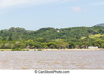Beach in Guaiba lake with vegetation, Itapua, Viamao, Rio...