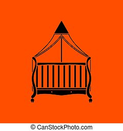 Crib with canopy icon. Orange background with black. Vector...