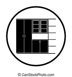 Office cabinet icon. Thin circle design. Vector...