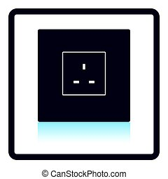 Great britain electrical socket icon. Shadow reflection...