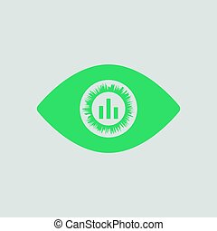 Eye with market chart inside pupil icon. Gray background...