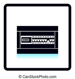 Circuit breakers box icon. Shadow reflection design. Vector...