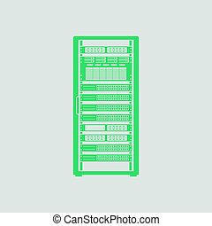 Server rack icon. Gray background with green. Vector...