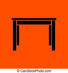 Dinner table icon. Orange background with black. Vector...