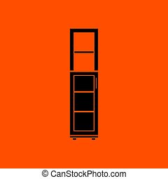 Narrow cabinet icon. Orange background with black. Vector...
