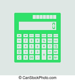 Statistical calculator icon. Gray background with green....