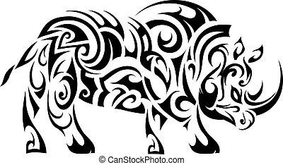 workingfile 2 - Rhino figure tattoo shape. Maori ethnic...