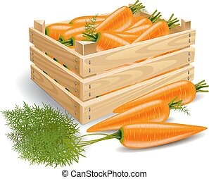 Box with carrots - A wooden box full of fresh carrots and a...