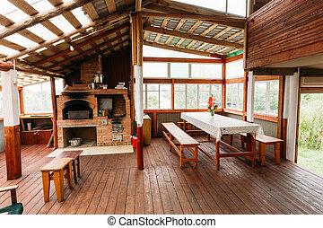 Interior Of Restroom In Belarusian Russian Wooden Guest...