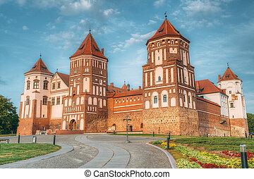 mir, azul, soleado, Belarus, cielo, Complejo, ocaso, Plano...