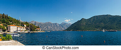 The old fishing town of Perast on the shore of Kotor Bay in...