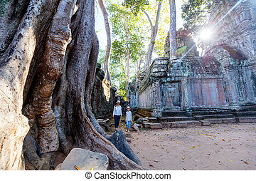 Ta Prohm temple - Family visiting ancient Ta Prohm temple in...