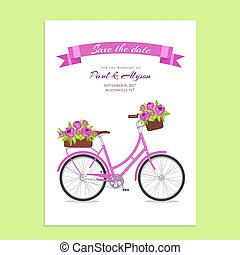 Purple retro bicycle with bouquet in floral basket and box...